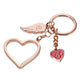 TROIKA Keyring with 3 charms LOVE IS IN THE AIR Rose Gold Colour