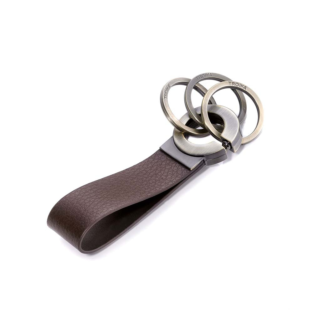TROIKA Key-Click Leather Keychain with Click Mechanism - Brown/Antique Gold