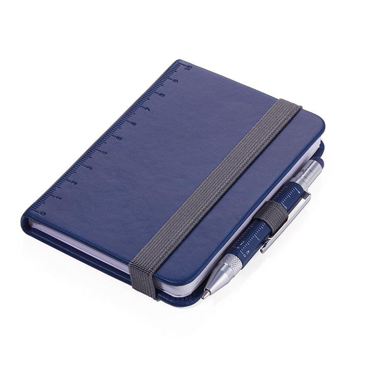 TROIKA Notepad DIN A7 with Multitasking Ballpoint Pen LILIPAD+LILIPUT Blue