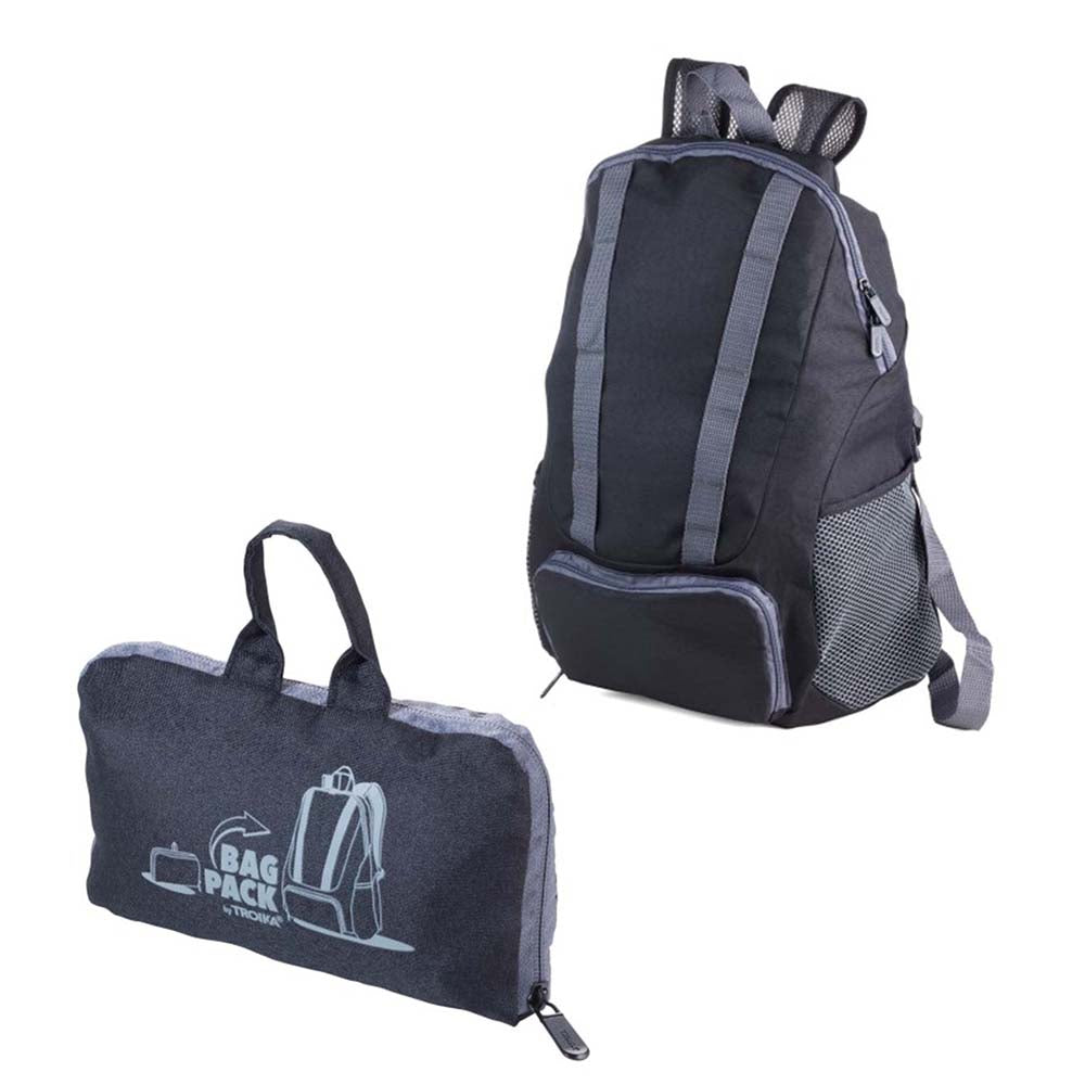 TROIKA Backpack Foldable BAGPACK 12 Litre - Black/Grey