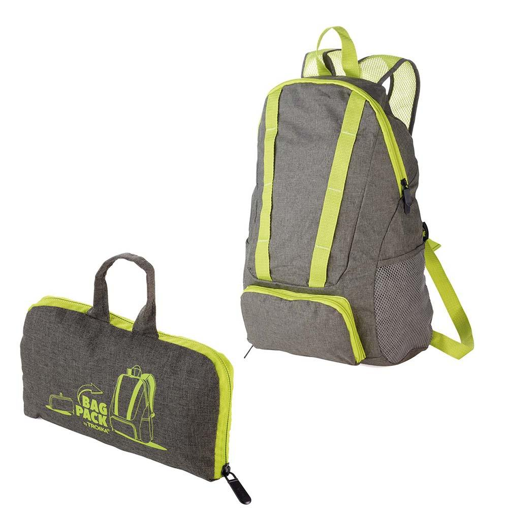 TROIKA Backpack Foldable BAGPACK 12 Litre - Neon Green/Grey