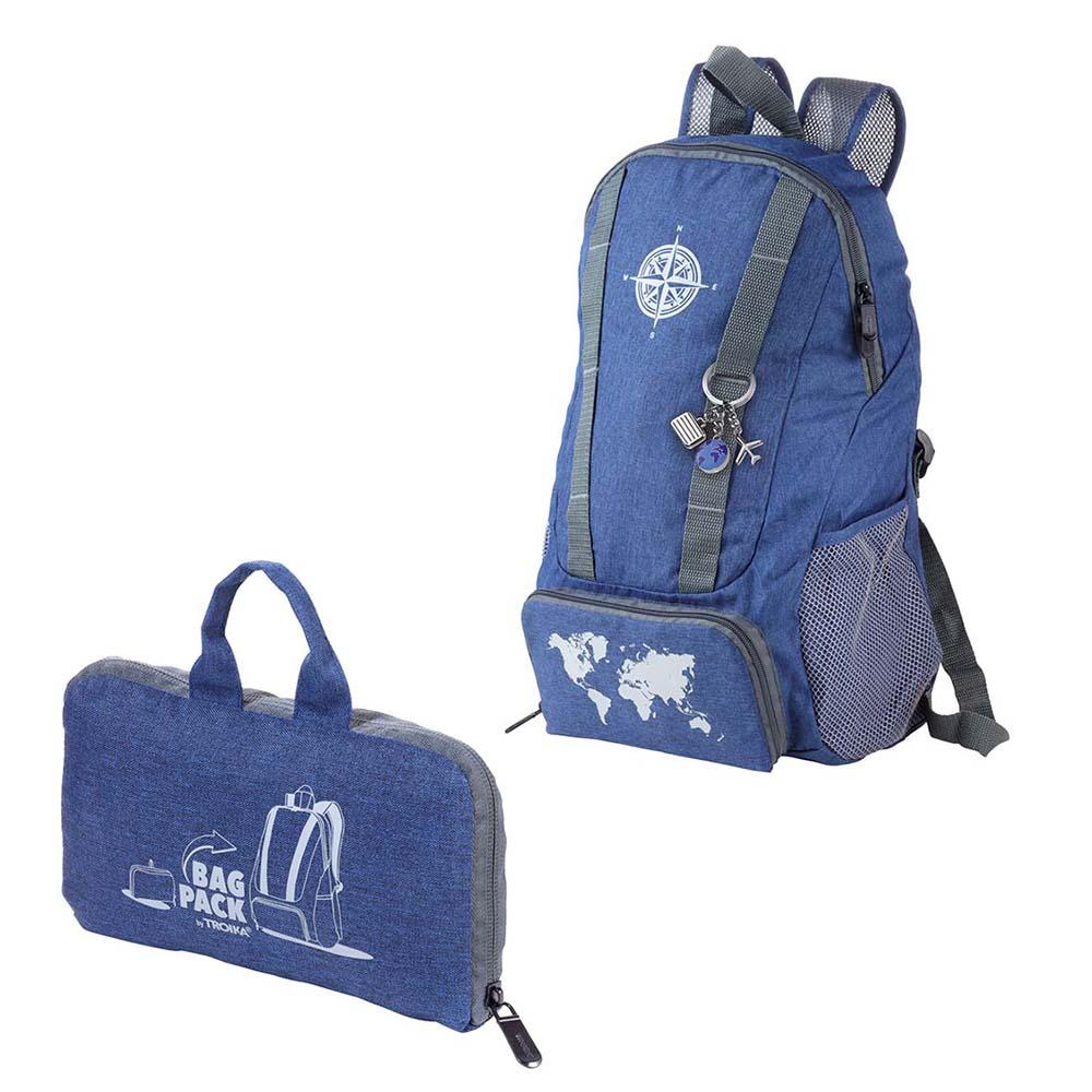 TROIKA Backpack and Keyring BAGPACK GLOBETROTTER SET - Dark Blue/Grey