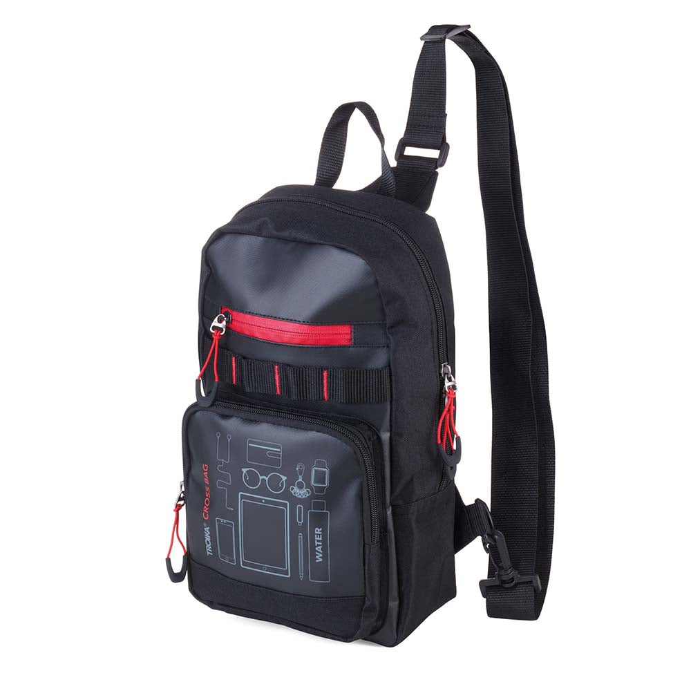 TROIKA Backpack Bag Crossbody CROSS BAG - Black/Red