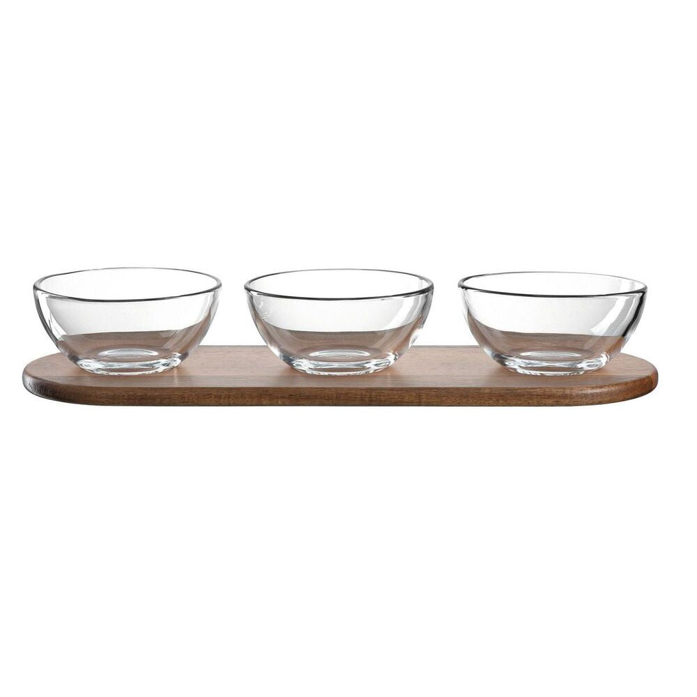 Leonardo Serving Set for Dips or Snacks: Wood Tray & 3 Glass Bowls Cucina