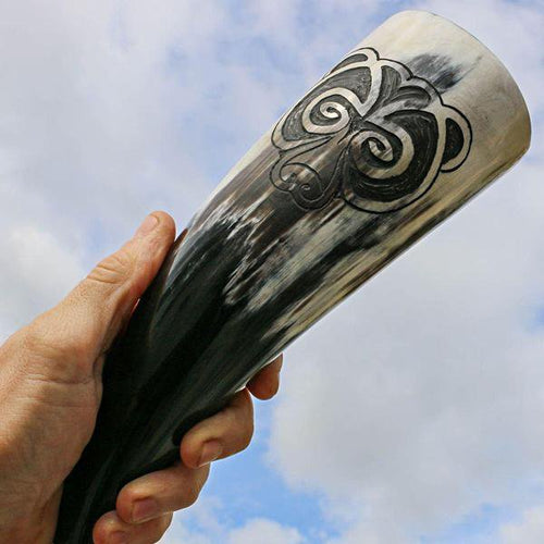 Berserker Drinking Horn - Hand Carved Bear