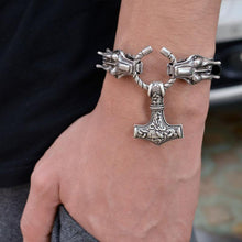 Leather Wolf/Dragon Mjolnir Bracelet