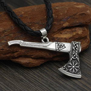 Viking Axe Valknut Necklace - Helm Of Awe