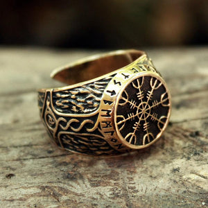 Handmade Aegishjalmur Adjustable Size Ring - Bronze