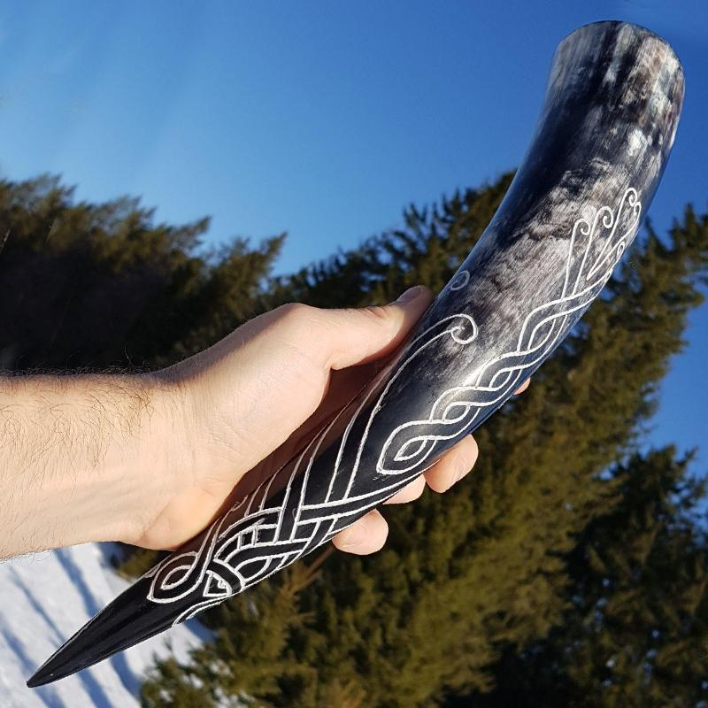 Huginn Drinking Horn - Hand Carved