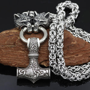 Wolf Heads Holding Mjolnir Necklace - King Chain Handmade