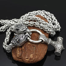 Wolf Heads Holding Mjolnir Necklace - King's Chain Handmade