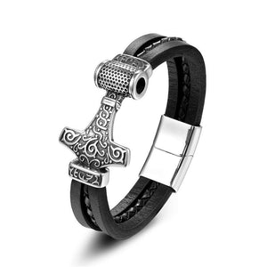 Leather Thor's Hammer Bracelet