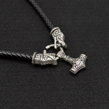 Leather Wolf/Dragon Mjolnir Necklace - Limited Edition