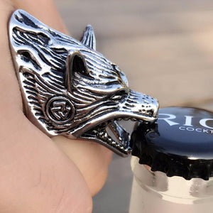 Nordic Wolf Head Ring Bottle Opener - Handpolished