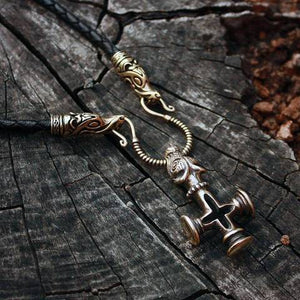 Handmade Thor's Cross Wolf Head Necklace