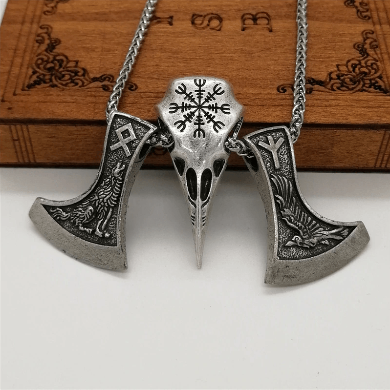 Raven Skull Necklace With Two Axes - Aegishjalmur