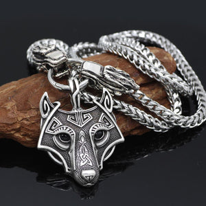Sköll and Hati Wolf Head Necklace - Stainless Steel