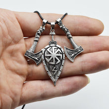 Slavic Axe And Shield Kolovrat Necklace
