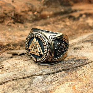Handmade Valknut Viking Ring Adjustable Size - Solid Bronze