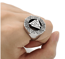 Mens Valknut Viking Ring - Stainless Steel
