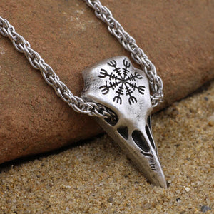 Raven Skull Necklace - Helm Of Awe
