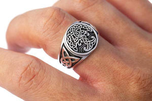 Handcrafted Yggdrasil Knotwork Ring