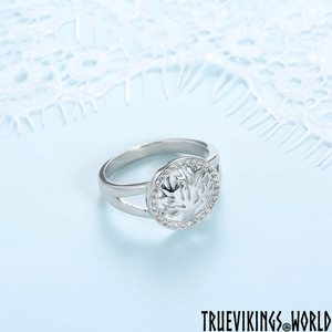 Modern Yggdrasil Ring With Zircons - Sterling Silver