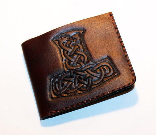 Handmade Men's Mjolnir Leather Wallet - Limited Edition
