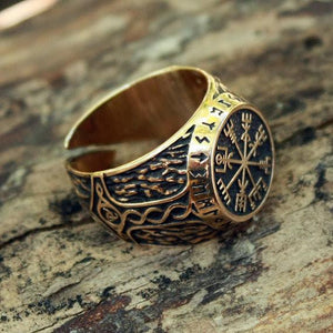 Handmade Vegvisir Futhark Runes Adjustable Size Ring - Bronze