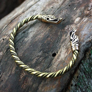 Handmade Double Wolf Head Bracelet - Bronze & Brass (Small)