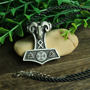 Norse Ram Thor Hammer Necklace - Silver Plated