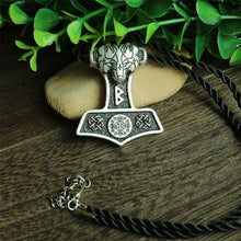 Odin's Wolf Thor Hammer Necklace  #2 - Silver Plated