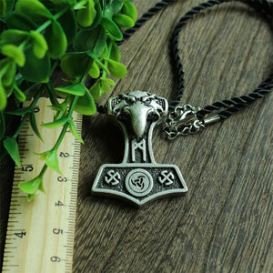 Norse Odin's Raven Thor Hammer Necklace - Silver Plated