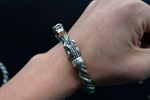 Handmade Norse Wolf Viking Bracelet - Silver Plated