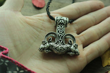 Ram Mjolnir Pendant With Rope Chain - Silver Plated