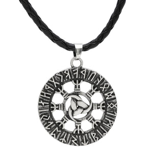 Viking Triple Horn of Odin Runic Necklace - Double side