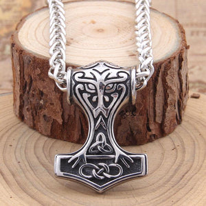 Celtic Knot Thor's Hammer Necklace - Stainless Steel
