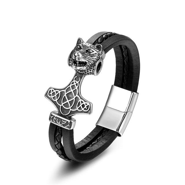 Wolf Mjolnir Leather Bracelet - Modern Edition