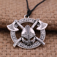 Runic Viking Warrior Pendant Necklace - Silver Plated