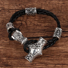 Runic Leather Mjolnir Bracelet