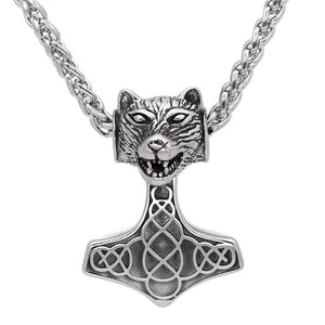 Norse Bear Head Mjolnir Necklace - Berserker Edition