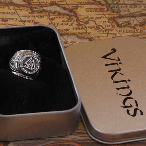 Resizable Runic Viking Ring - Valknut Symbol