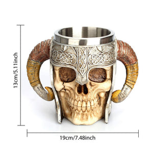 Viking Skull Horned Coffee/Beer Mug