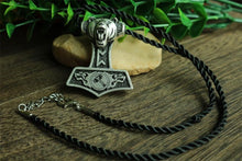 Norse Bear Thor Hammer Necklace - Silver Plated