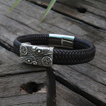 Huginn And Muninn Braided Leather Bracelet