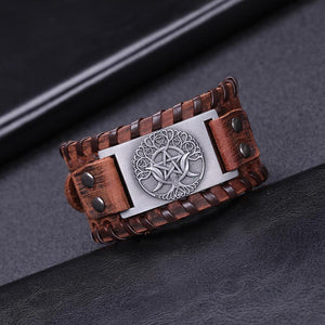 Tree Of Life Leather Bracelet - Wicca Edition