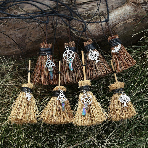 Witch Broom Necklace - WIcca Edition