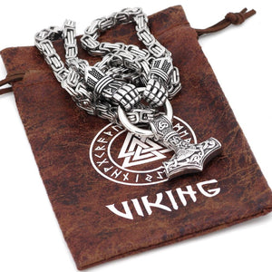Handmade Thor's Hands Holding Mjolnir Necklace - Kings Chain