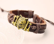 True Vikings Gold / 1 Authentic Norse Wolf Leather Bracelet