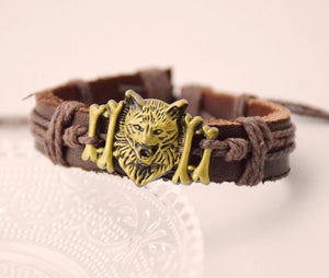 True Vikings Gold / 3+1 Free=4 Authentic Norse Wolf Leather Bracelet
